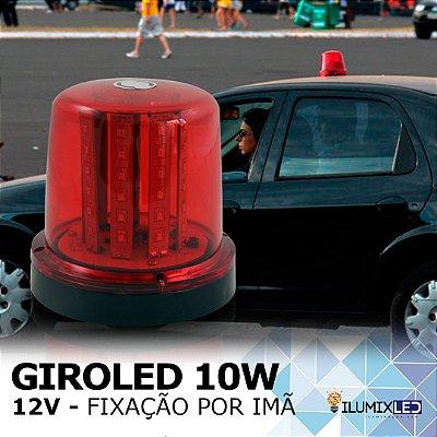 Sinalizador GIROLED 10w | 12v | Fixação: POR IMÃ | Resistente à Água IP65 | LEDS PHILIPS