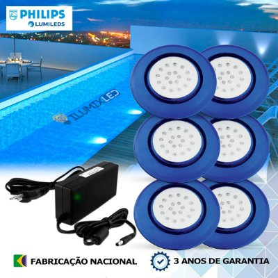 38 - KIT ILUMINAÇÃO DE PISCINA 18w | 12,5 cm | COR FIXA | 6 Luminárias | LED PHILIPS