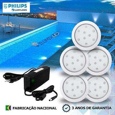 05 - KIT ILUMINAÇÃO DE PISCINA 9w |  8 cm | COR FIXA | 5 Luminárias | LED PHILIPS