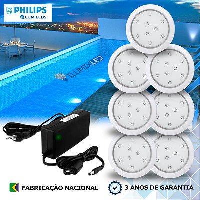 07 - KIT ILUMINAÇÃO DE PISCINA 9w | 8 cm | COR FIXA | 7 Luminárias | LED PHILIPS