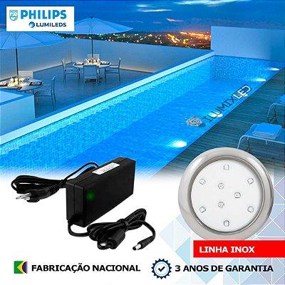 09 - KIT ILUMINAÇÃO DE PISCINA 9w | 8 cm | INOX | COR FIXA | 1 Luminárias | LED PHILIPS