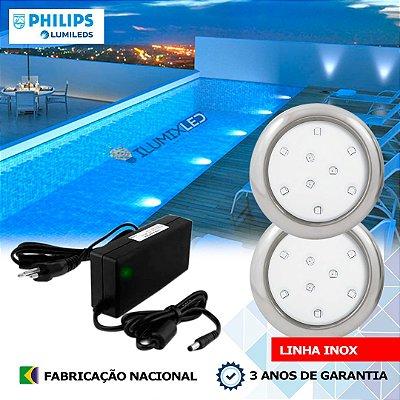 10 - KIT ILUMINAÇÃO DE PISCINA 9w | 8 cm | INOX | COR FIXA | 2 Luminárias | LED PHILIPS