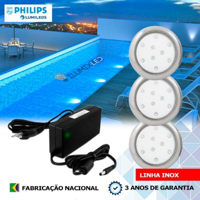 11 - KIT ILUMINAÇÃO DE PISCINA 9w | 8 cm | INOX | COR FIXA | 3 Luminárias | LED PHILIPS