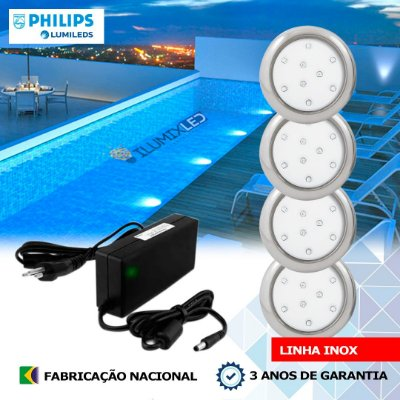 12 - KIT ILUMINAÇÃO DE PISCINA 9w | 8 cm | INOX | COR FIXA | 4 Luminárias | LED PHILIPS