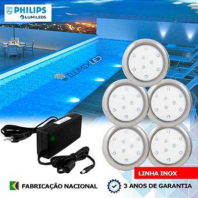 13 - KIT ILUMINAÇÃO DE PISCINA 9w | 8 cm | INOX | COR FIXA | 5 Luminárias | LED PHILIPS