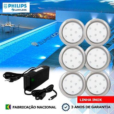14 - KIT ILUMINAÇÃO DE PISCINA 9w | 8 cm | INOX | COR FIXA | 6 Luminárias | LED PHILIPS