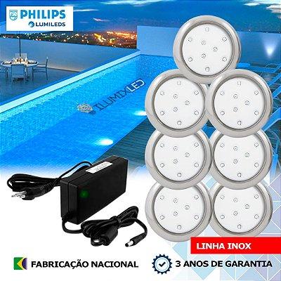 15 - KIT ILUMINAÇÃO DE PISCINA 9w | 8 cm | INOX | COR FIXA | 7 Luminárias | LED PHILIPS