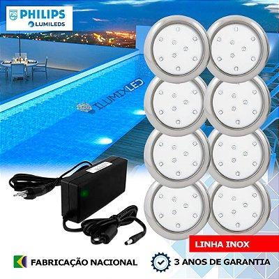 16 - KIT ILUMINAÇÃO DE PISCINA 9w | 8 cm | INOX | COR FIXA | 8 Luminárias | LED PHILIPS
