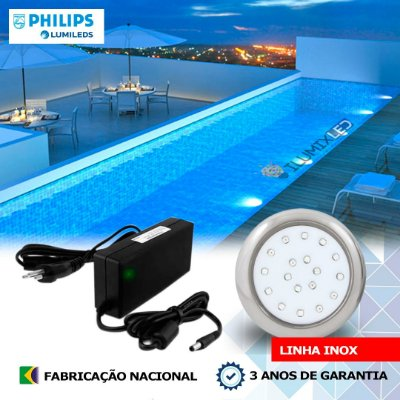 25 - KIT ILUMINAÇÃO DE PISCINA 18w   8 cm   INOX   COR FIXA   1 Luminárias   LED PHILIPS