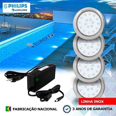28 - KIT ILUMINAÇÃO DE PISCINA 18w | 8 cm | INOX | COR FIXA | 4 Luminárias | LED PHILIPS