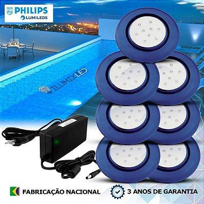47 - KIT ILUMINAÇÃO DE PISCINA 9w | 12,5 cm | COR FIXA | 7 Luminárias | LED PHILIPS
