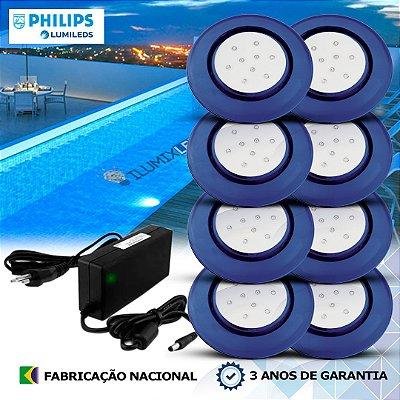 48 - KIT ILUMINAÇÃO DE PISCINA 9w | 12,5 cm | COR FIXA | 8 Luminárias | LED PHILIPS