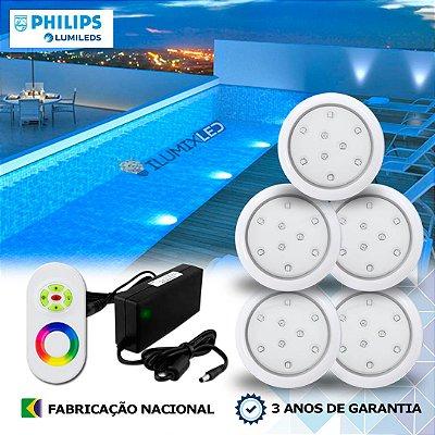 53 - KIT ILUMINAÇÃO DE PISCINA 9w | 8 cm | RGB Sistema Colorido | 5 Luminárias | LED CHIP PHILIPS
