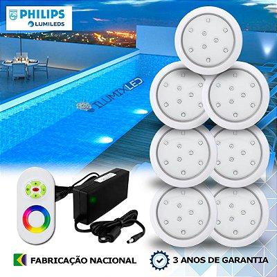 DUPLICADO - 54 - KIT ILUMINAÇÃO DE PISCINA 9w | 8 cm | RGB Sistema Colorido | 6 Luminárias | LED PHILIPS