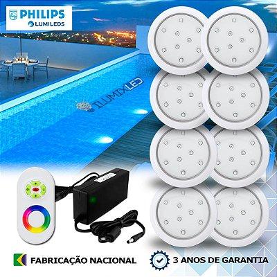 56 - KIT ILUMINAÇÃO DE PISCINA 9w | 8 cm | RGB Sistema Colorido | 8 Luminárias | LED PHILIPS