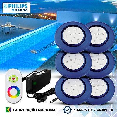 70 - KIT ILUMINAÇÃO DE PISCINA 9w | 12,5 cm | RGB Sistema Colorido | 6 Luminárias | LED PHILIPS