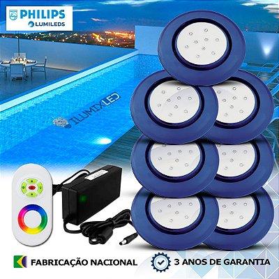 71 - KIT ILUMINAÇÃO DE PISCINA 9w | 12,5 cm | RGB Sistema Colorido | 7 Luminárias | LED PHILIPS