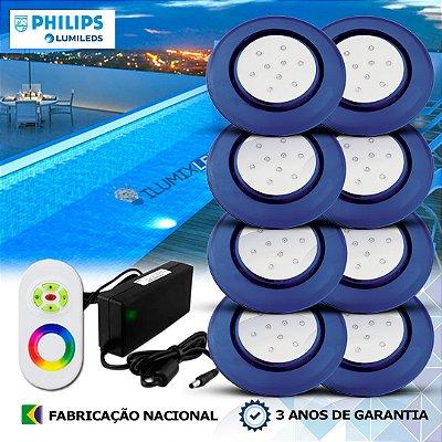 72 - KIT ILUMINAÇÃO DE PISCINA 9w | 12,5 cm | RGB Sistema Colorido | 8 Luminárias | LED CHIP PHILIPS