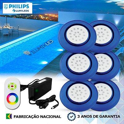79 - KIT ILUMINAÇÃO DE PISCINA 18w | 12,5 cm | RGB Sistema Colorido | 6 Luminárias | LED PHILIPS