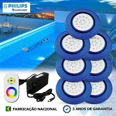 80 - KIT ILUMINAÇÃO DE PISCINA 18w | 12,5 cm | RGB Sistema Colorido | 7 Luminárias | LED PHILIPS