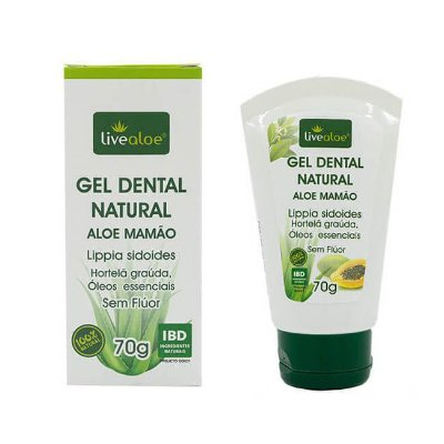 Gel Dental Natural Aloe Mamão - LiveAloe -  60g