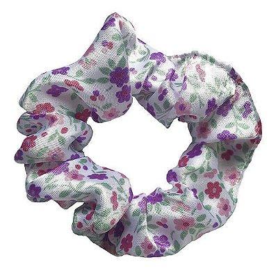 Xuxinha de Cetim Floral Lilás - Turban