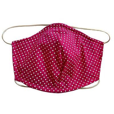 Máscara de Tecido Tripla Camada com Elástico na Cabeça e Pescoço - Poá Pink Tam M - Turban