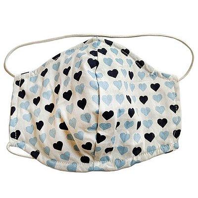 Máscara de Tecido Tripla Camada com Elástico na Cabeça e Pescoço - Corações Tam M - Turban