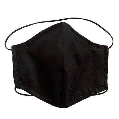 Máscara de Tecido Tripla Camada com Elástico na Cabeça e Pescoço - Preta Tam M - Turban