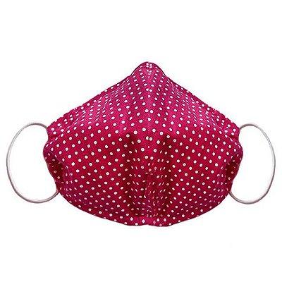 Máscara de Tecido Tripla Camada com Elástico nas Orelhas - Poá Pink Tam M - Turban