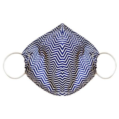 Máscara de Tecido Tripla Camada com Elástico nas Orelhas - Azul Chevron Tam M - Turban