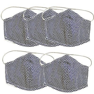 COMBO Máscara de Tecido Tripla Camada com Elástico na Cabeça e Pescoço - Azul Chevron Tam G - Turban