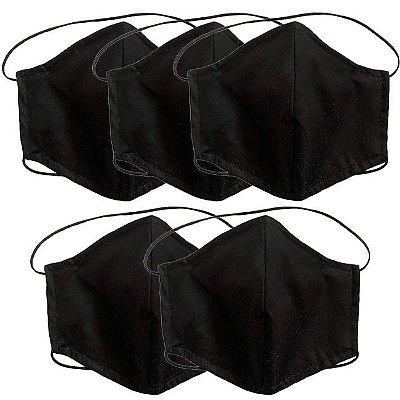 COMBO Máscara de Tecido Tripla Camada com Elástico na Cabeça e Pescoço - Preta Tam G - Turban