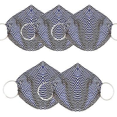 COMBO Máscara de Tecido Tripla Camada com Elástico nas Orelhas - Azul Chevron Tam M - Turban