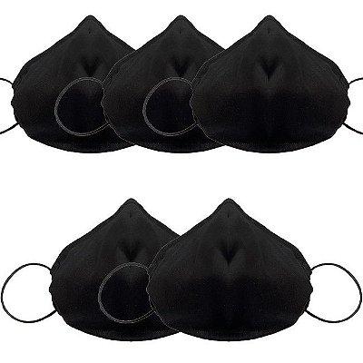 COMBO Máscara de Tecido Tripla Camada com Elástico nas Orelhas - Preta Tam M - Turban