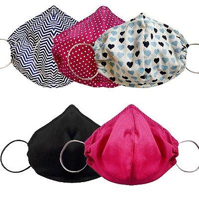 COMBO Máscara de Tecido Tripla Camada com Elástico nas Orelhas - Sortidas Tam M - Turban