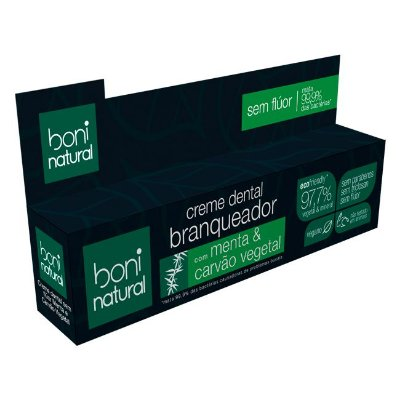 Creme Dental Branqueador com Carvão Vegetal 90g - Boni Natural