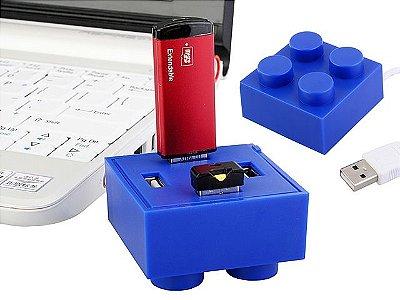 Hub USB 4 Portas Bloco de LEGO 2x2