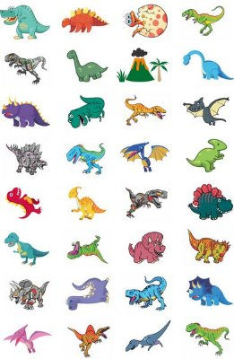 Tatuagem temporária infantil - Dinossauros (32 unidades)