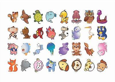 Tatuagem temporária infantil - Animais Baby (32 unidades)