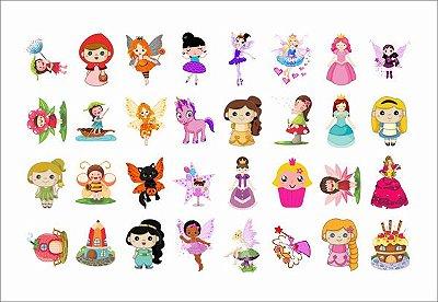 Tatuagem temporária infantil - Menina Princesa (32 unidades)