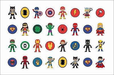 Tatuagem temporária infantil - Super Heróis (32 unidades)