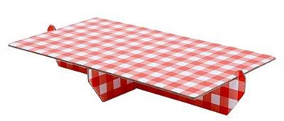 Bandeja retangular 14x25 cm xadrez - Vichy vermelho (papelão desmontável)
