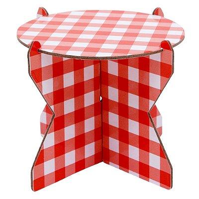 Mini Boleira 12 cm xadrez - Vichy vermelho (papelão desmontável)