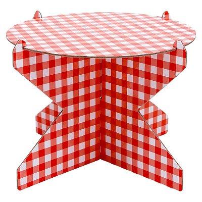 Boleira 26 cm xadrez - Vichy vermelho (papelão desmontável)