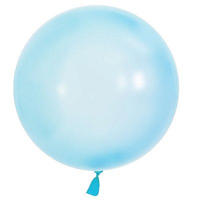 "Balão Bubble 24"" transparente colorido - Azul (60 cm - unidade)"