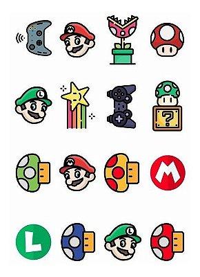 Tatuagem temporária infantil - Super Mario (16 unidades)