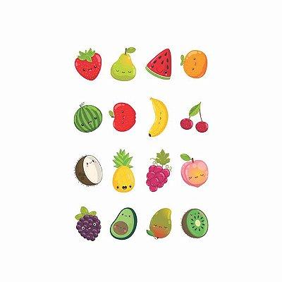 Tatuagem temporária infantil - Frutas (16 unidades)
