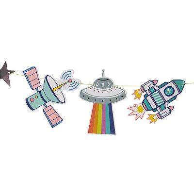 Bandeirola de papel - Astronauta no Espaço (14 peças + cordão)