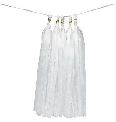 Guirlanda / Cauda Balão Franjas - Pompom Branco (5un)